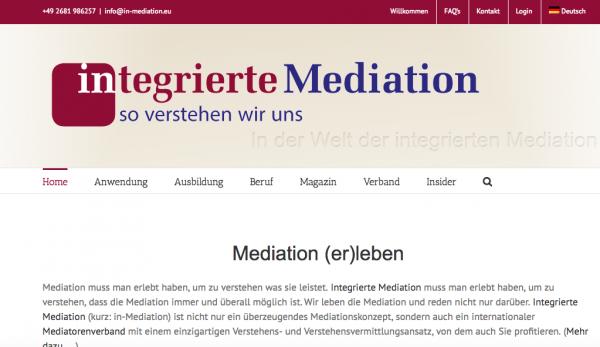 Webseite der Integrierten Mediation